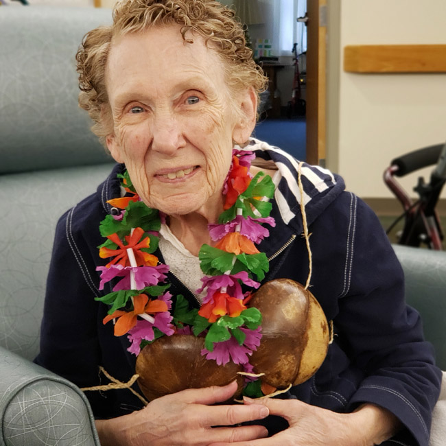 elderly woman with dementia at senior care facility