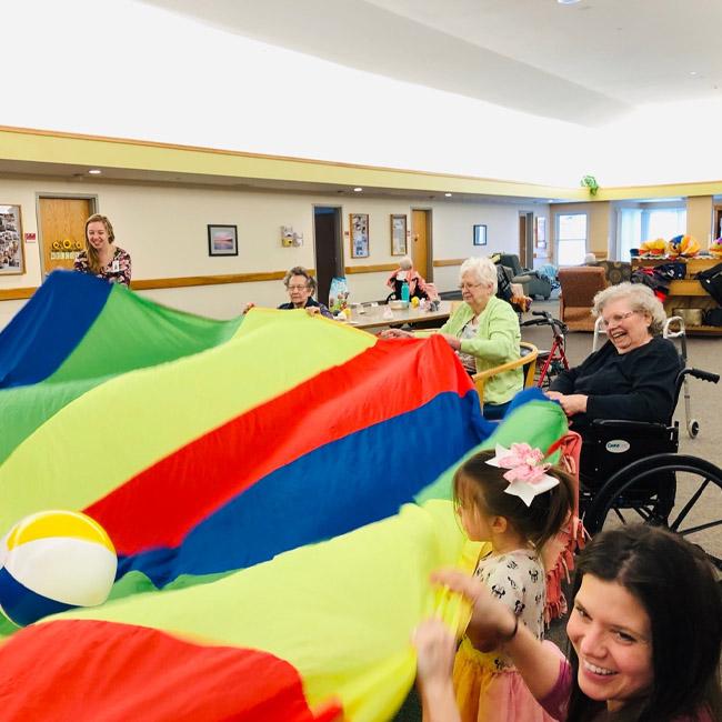 Kalamazoo memory care residents paricipating in an activity