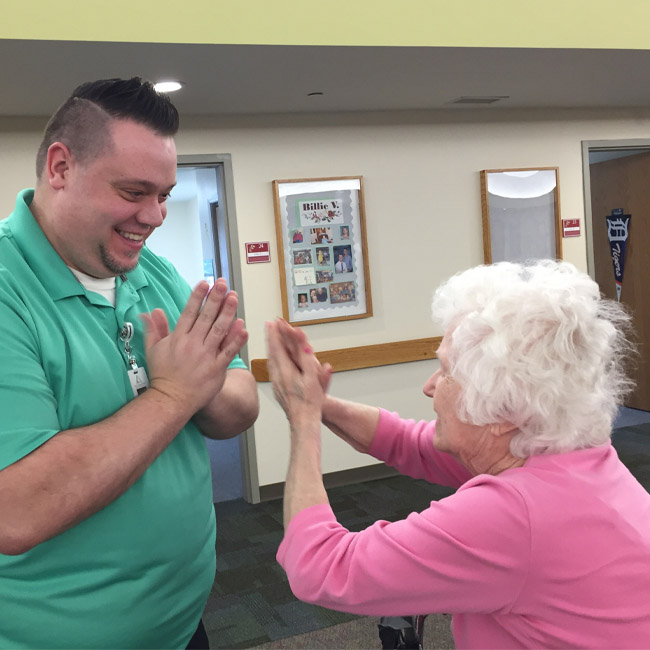 staff providing memory care services to dementia patient in Kalamazoo